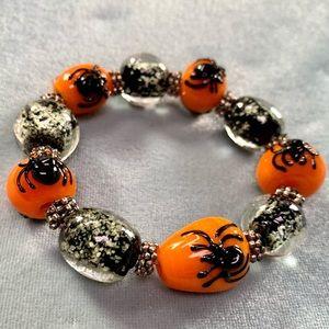 ❤️5 for $15 Lampwork Glass Halloween Pumpkin and  Spider Beaded Bracelet